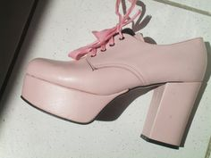 platform shoes vintage US 5,5 glam  retro SEVENTIES mary jane pink