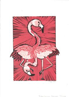 Indian Summer, Flamingos Lino Print by Lauren Kelly