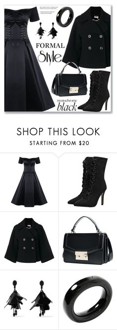 """""""Formal Monochrome: All Black Everything"""" by jecakns ❤ liked on Polyvore featuring Chloé, Oscar de la Renta and Tiffany & Co."""