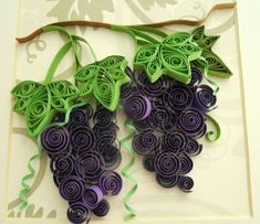 Quilled Grapes on Vine. Use this design of the grape leaves and see the other picture for the bunch of grapes. Both will work for a flat surface on a card. Paper Quilling Patterns, Quilled Paper Art, Quilling Paper Craft, Quilling 3d, Quilling Designs, Paper Crafts, Diy Crafts For Adults, Crafts To Make, First Communion Decorations