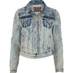 Mid wash distressed denim jacket £35.00