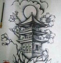 Oriental Tattoo Geisha Black And Gray Tattoos - Japanese Temple Tattoo, Japanese Tattoos For Men, Japanese Tattoo Designs, Tattoo Designs Men, Tattoo Japanese, Chinese Sleeve Tattoos, Tribal Sleeve Tattoos, Tatuajes Irezumi, Irezumi Tattoos