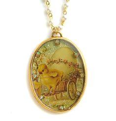 New John Wind MAXIMAL ART Easter Chick Gold Necklace Glass Pearl Jewelry #MaximalArt #Pendant #JohnWind #Easter #Egg #Bracelet