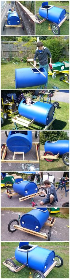 How to Build a Plastic Barrel Derby Cart