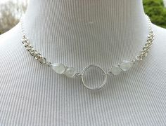 925 Sterling Silver Discreet Submissive O Ring Necklace with Moonstone, Day Collar
