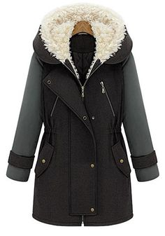 Multicolor Plain Zipper Pockets Long Sleeve Wool Coat. Would love to have this coat!