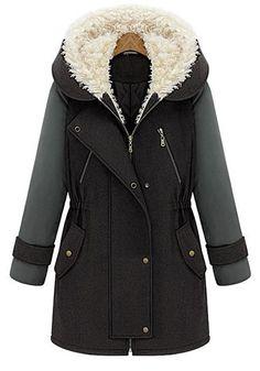 Multicolor Plain Zipper Pockets Long Sleeve Wool Coat