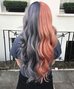 Haare Split hair / blue and pink hair Choosing room colors change the way a space looks as well as t Blue And Pink Hair, Pink Hair Dye, Dyed Blonde Hair, Hair Dye Colors, Neon Hair, Ombre Hair, Half Colored Hair, Half And Half Hair, Split Dyed Hair