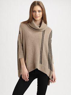 360 Sweater - Pia Striped Cashmere Poncho Top - Saks.com
