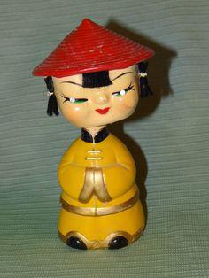 "Paper Mache Bobble Head Nodder Bank Oriental w Rhinestone Eyes Bank 6 1 2"" | eBay"