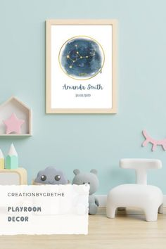 Are you looking for an easy, affordable and convenient way to decorate your child's room then you're in the right place. This personalized zodiac sign constellation print is the perfect piece that will add the finishing touch to your child's room or nursery. #zodiacwallart #nurserywallart #printablewallart #personalizedgift Floral Nursery, Nursery Prints, Nursery Wall Art, Playroom Printables, Playroom Wall Decor, Rainbow Print, Child's Room, Constellations, Printable Wall Art