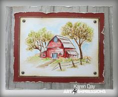 Karen Day: Art Impressions Old Barn Mini Set Covered Bridge Mini Set leaves, WC Foliage Set 1 grass, WC Flower Set Tiny Flowers; watercolor with markers Watercolor Pictures, Watercolor Sketch, Watercolor Cards, Watercolor Paintings, Watercolors, Watercolor Ideas, Sketch Art, Watercolor Landscape, Art Impressions Stamps