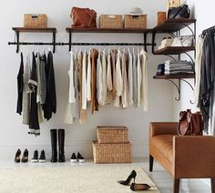 Trendy Open Closet Ideas For Small Spaces Shelves Shelves In Bedroom, Closet Shelves, Closet Storage, Bedroom Storage, Bedroom Decor, No Closet Bedroom, Master Bedroom, Closet Organization, Bedroom Ideas