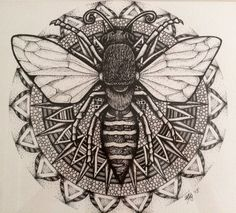 Original black and white bee illustration  by litedawncreations