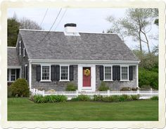 Clic Cape Cod House Gray Black White And Red Door