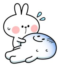 Spoiled Rabbit want to cheer person up. Cute Love Pictures, Cute Love Memes, Cute Love Cartoons, Funny Pictures, Emoticon, Emoji, Cute Emo, Line Sticker, Cute Bunny
