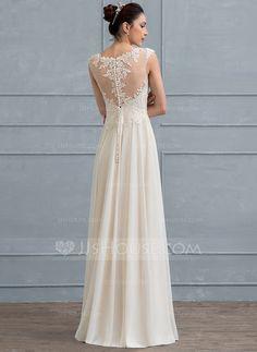 A-linjeformat Rund-urringning Golvlång Chiffong Spets Bröllopsklänning med Beading Paljetter (002117036)