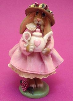 Enesco 1998 Donna Little Bunny Holding A Tea Pot Figurine 5 Inches Pink White #Enesco