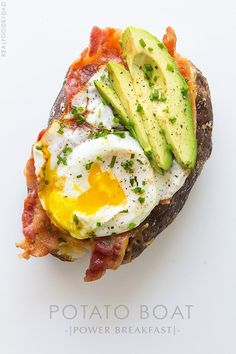 My obsession for throwing a fried egg on everything continues. This Power Breakfast baked potato is totally legit, and a face-stuffer—and if that isn't enough,