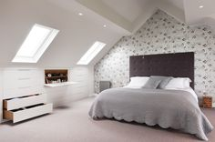 Bespoke loft wardrobes and eaves storage designed to fit the most awkward attic conversion. Beautiful and functional furniture from London based design studio. Attic Loft, Loft Room, Bedroom Loft, Attic Office, Eaves Bedroom, Garage Attic, Attic House, Attic Ladder, Girls Bedroom