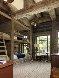 Quadruple bunk bed bedroom cabin rustic wood