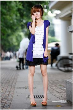 Blue Gorgeous Slim Womens Cardigan Korean Fashion