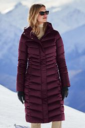 classic Women's Petite Shimmer Down Long Coat-Darkest Burgundy
