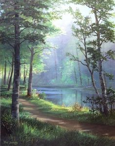 Fred Buchwitz Sunlit Path – Courteney Mccray Lane – Join the world of pin Fantasy Landscape, Landscape Art, Landscape Paintings, Watercolor Trees, Watercolor Landscape, Pictures To Paint, Art Pictures, Beautiful Paintings, Beautiful Landscapes