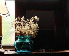 Unique Teal Blue Hand Blown Art Glass Vase Jar - OOAK Boho Rustic Home Accent Decor