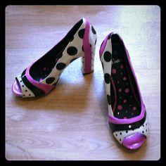 Chunky Polka Dot High Heels Pink black and white polka dot rockabilly pinup retro chunky heels Shoes Platforms