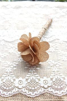 Burlap Guest Book Pen - Burlap Flower - Rustic Chic Vintage Wedding via Etsy