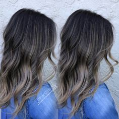 Ash neutral dark brown balayage