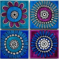 Set of 4 blue and purple flower coasters $45