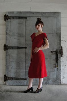 1950's red wool dress.  Great Collar.