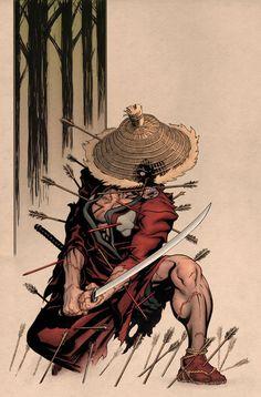 Deadpool in ancient Japan. He was a member of the Deadpool Corp. Known as Ronin Deadpool. Ronin Samurai, Samurai Warrior, Marvel Comic Books, Marvel Comics, Comic Character, Character Design, Samourai Tattoo, Deadpool, Samurai Artwork