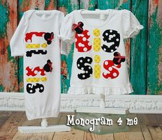 Lil Sis Big Sis Sibling Minnie mouse shirts baby gown newborn