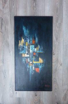 AFRICA...Toile acrylique abstraite contemporaine au couteau 40x80