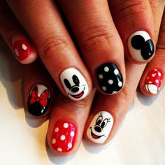 Mickey and Minnie Nail art