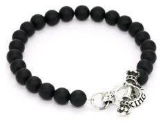 King Baby Men's Silver Clasp with Black Onyx Bead Bracelet King Baby. $160.00. Made in United States. Hand carved