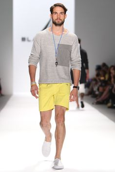 Many designers featured sweaters with shorts in their Spring 2014 looks. Black Sail by Nautica Men's RTW Spring 2014 - Slideshow
