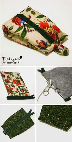 How to sew fabric cosmetic bag. Click on image to see step-by-step tutorial
