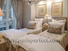 """French bedroomblue french fabric - """"Beaulolais"""" apartment on Parisperfect.com"""