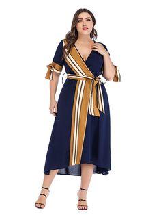 Buy Women's Plus Size Dress Striped Bow V Neck Dress & Plus Size Dresses - at Jolly Chic Womens Navy Blue Dress, Long Floral Maxi Dress, Dress Plus Size, Patchwork Dress, Stylish Dresses, Unique Dresses, Dresses Online, Plus Size Fashion, Short Sleeve Dresses