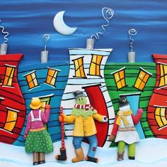 Everything has been about MUMMERS this week. Mummers, Mummers everywhere! Brown Art, Amy Brown, Christmas Rock, Christmas Trees, Christmas Door Decorations, House On The Rock, Painted Rocks, Painted Houses, Christmas Paintings