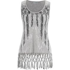 maurices Graphic Tank With Braided Fray Hem ($15) ❤ liked on Polyvore featuring tops, shirts, tank tops, grey, gray tank top, star shirt, grey shirt, graphic shirts and graphic tank tops