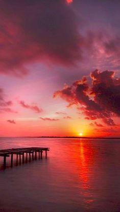 Magnifique coucher de soleil à Bacalar #voyage #coucherdesoleil #agencedevoyage