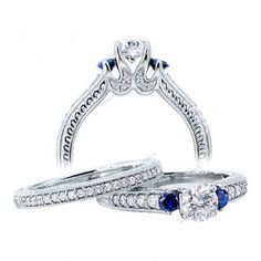 Bridal Engagement Ring 14K White Gold Finish 2.55 CT VVS1 Diamond and Sapphire #Aonejewels