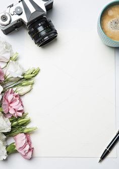 desk with coffee and flowers by Izdebska on @creativemarket