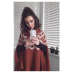 """""""Ready for an overcast night at disneyland, bundled up in yet another sweater poncho. ⛅️"""""""