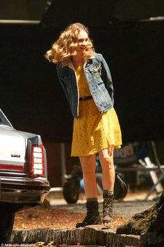Roadside set: Lily James was photographed on Sunday shooting a scene from her upcoming fil...